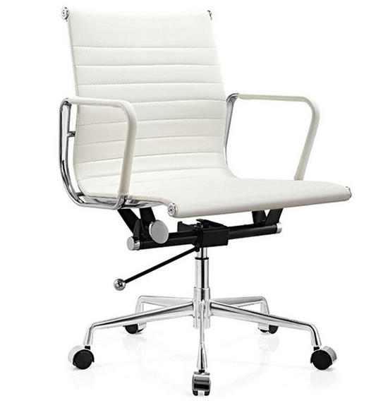 white leather modern design charles ribbed eames office chair with armrest  sc 1 st  China Foshan ergonomic office chair computer seating manufacturer & executive leather office chair modern desk chair / leather office ...