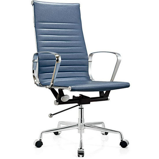 Modern High Back Blue Leather Office Chair/office Executive Chairs