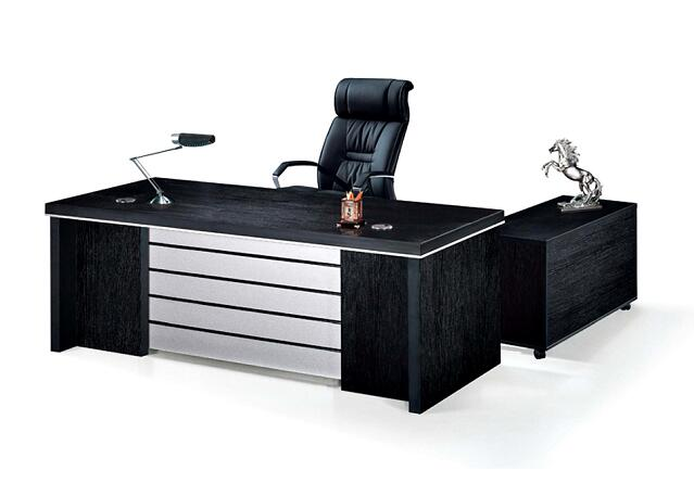 modern black wooden office executive desk / l shaped computer desk