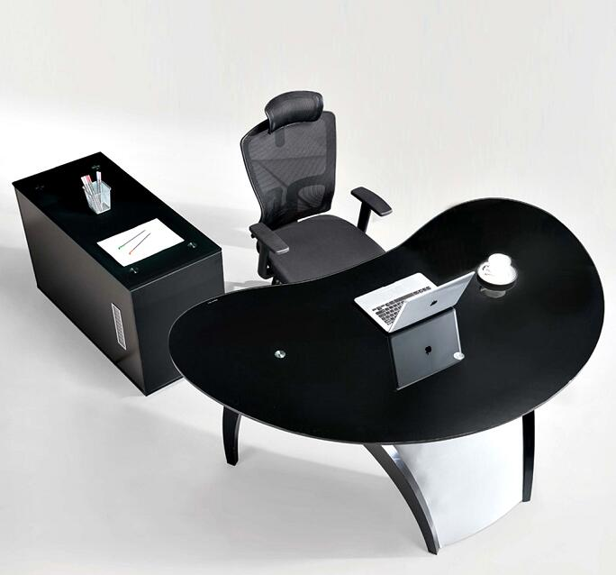 modern L shaped wood office executive table / ergonomic computer desk