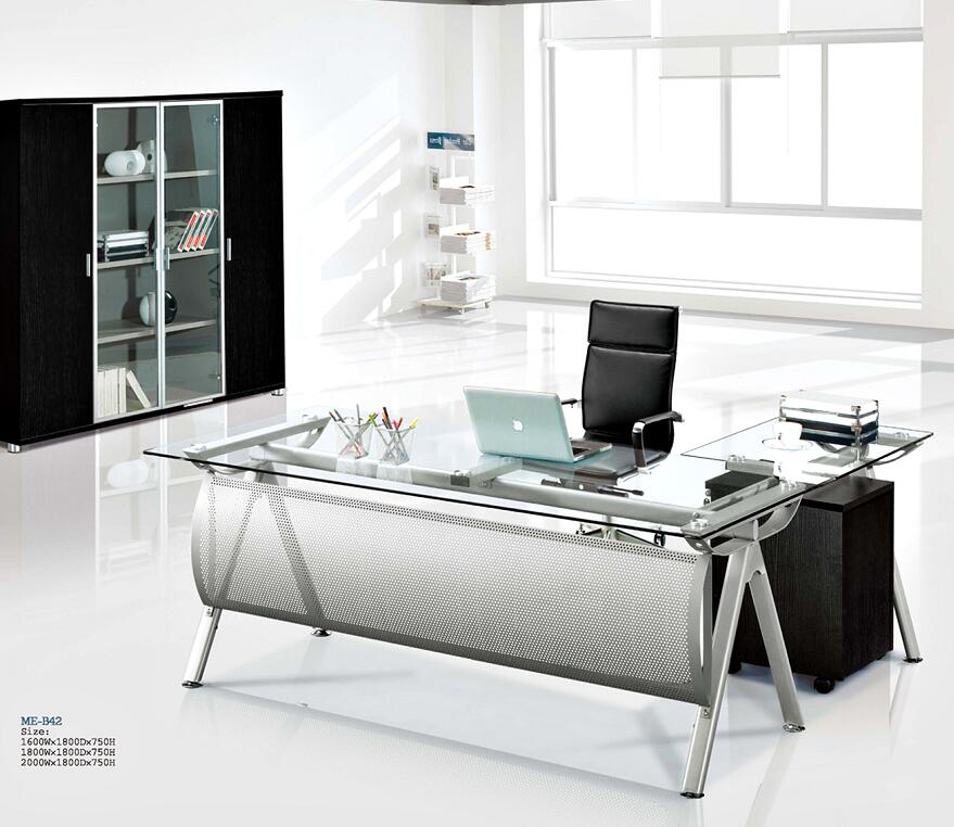 modern executive glass computer desk / l shaped metal office table with glass top