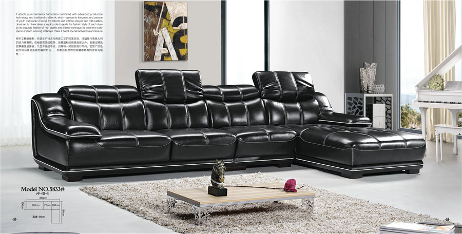 modern black leather home sofa / cheap recliner sofa / chaise sofa made in china
