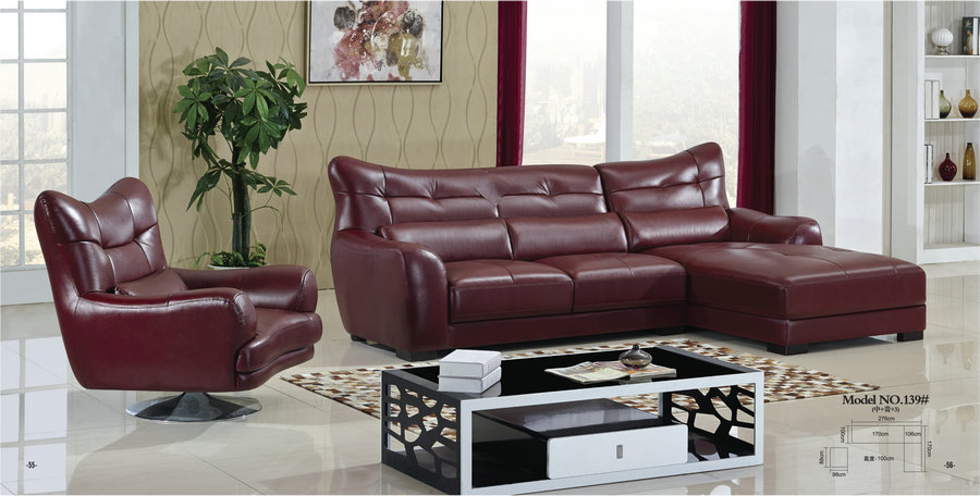 comfortable red leather sofa / modern recliner sofa / chaise sofa