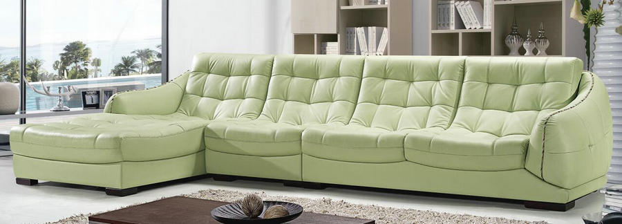 cheap green leather reclining sofa / living room chaise sofa Chinese suppliers