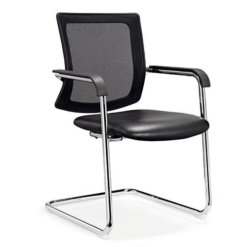 Promotional Black Leather Guest / Reception Chair with Metal Frame Price Under 200