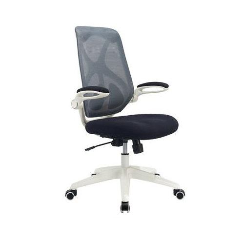 White plastic mesh office chairs with adjustable armrest lumbar support and wheels