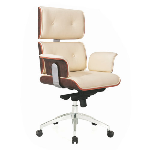 High Back Brown Leather Computer Office Chair Rolling and Adjustable Heavy Duty Used