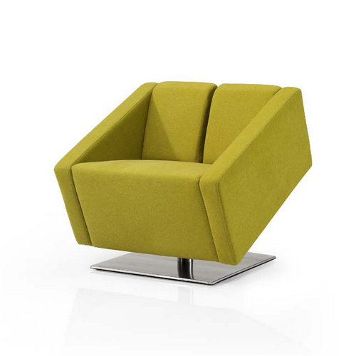 modern fabric lounge sofa / stainless steel base yellow small single office sofa