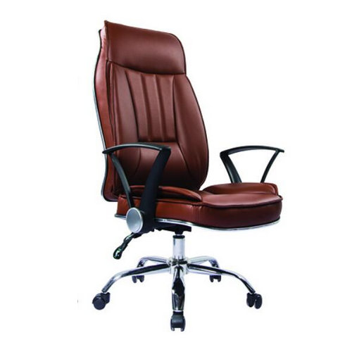 Comfortable brown leather recliner office chairs / discounted executive swivel office chairs