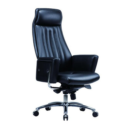 Foshan high back executive adjustable office armchair / lifting swivel black genuine leather office c