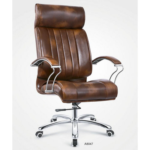 High back brown PU leather elegant visitor office chair / executive office chairs with low price