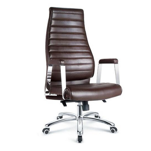 High Back Easy Elegant Uniqueness Chrome Leather Executive Office Chair / Ergonomic Swivel Chair with