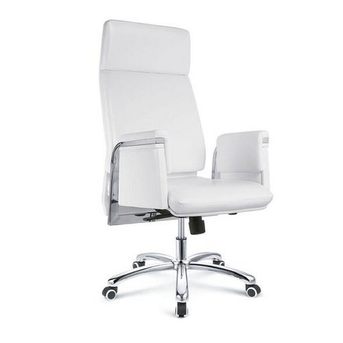 Adjustable Modern Executive Anti-fouling White Leather Office Chair / Ergonomic Manager Swivel Comput