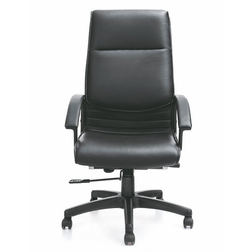 classic genuine black leather office executive chair / ergonomic height adjustable back computer chai
