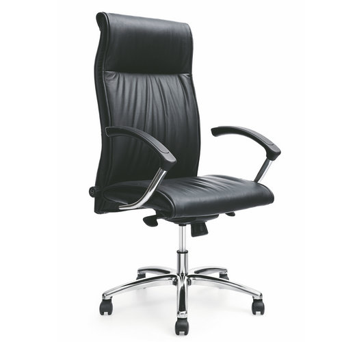 High back Leather Upholstered Office Chairs / Ergonomic office chair handle price back pain chair