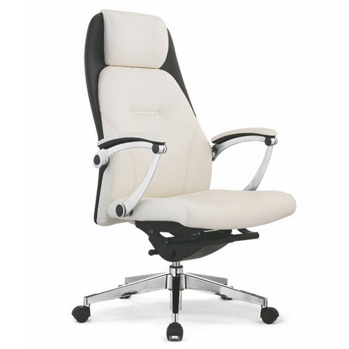 office chair genuine leather white. High Back White Leather Executive Swivel Office Chairs / Comfortable Genuine Reception Visito Chair I