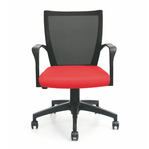 Fashion Red Fabric Swivel Staff Office Computer Chair / Small Low Back Reception Visitor Chair
