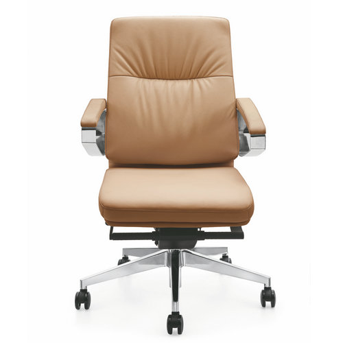 Lecong High Back New Office Brown Pu Leather Ergonomic Office Computer Chair Adjustable Boss Chairs