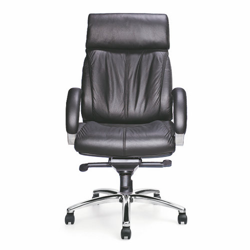 Modern Heavy Leather Swivel Height Adjustable Lift Executive Black Leather Office Chair for Office Fu