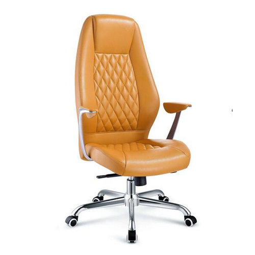 Hot Sale High Back Lift Yellow PU Leather Executive Office Chair with Metal Armrest / Swivel Boss Cha