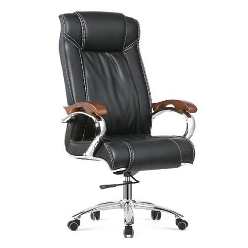 Tall Executive Black PU Leather Ribbed Office Desk Chair / CEO Computer Swivel Chairs