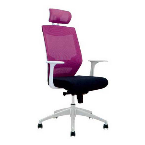 High back pink fabric office swivel chairs for ladies or receptionist / soft pad ergonomic woman seat