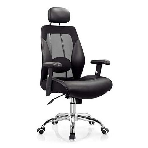 Black leather fabric swivel executive office computer chair with adjustable armrest for home and offi