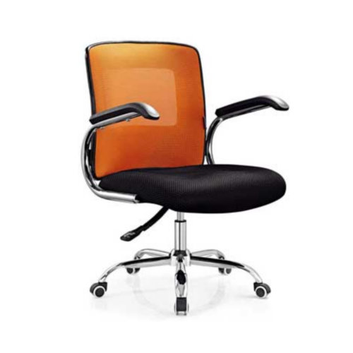 Mid back Cheap Ergonomic Staff Air Conditioned Computer Office Chair / Metal Fabric Swivel Meeting Ro