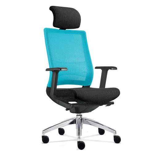 Hot Sale Ergonomic Black Seat Office Blue Fabric Swivel Chair with Armrest