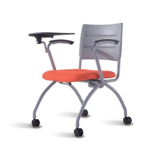 Heavy Duty School Training Study Folding Chair Metal With Writing Pad and Wheels