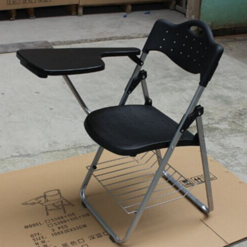 Durable plastic training chairs folding student study chair With writing pad