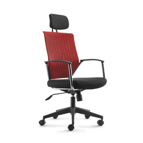 Strong Metal swivel armchair soft pad best fabric ergonomic computer office chair with headrest