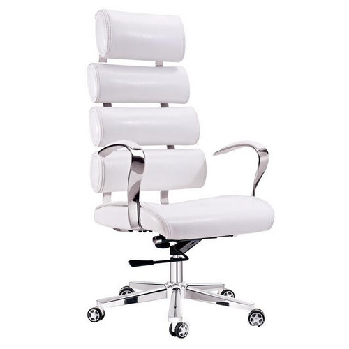 Adjustable Modern white leather office chair executive swivel lift office chair with aluminum five st