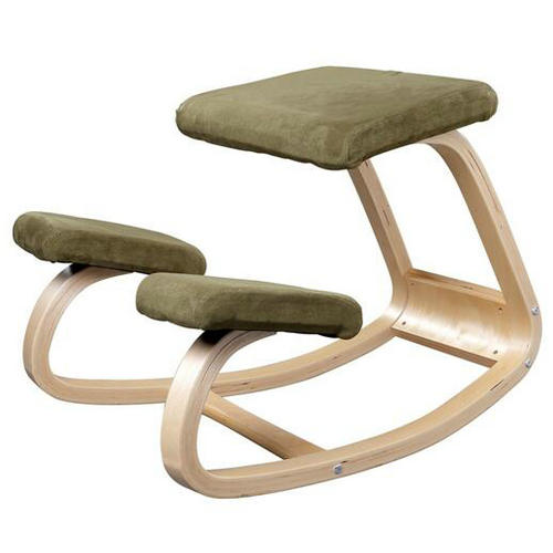 modern and cheap birch wood student kneeling chair in reading room, home office furniture