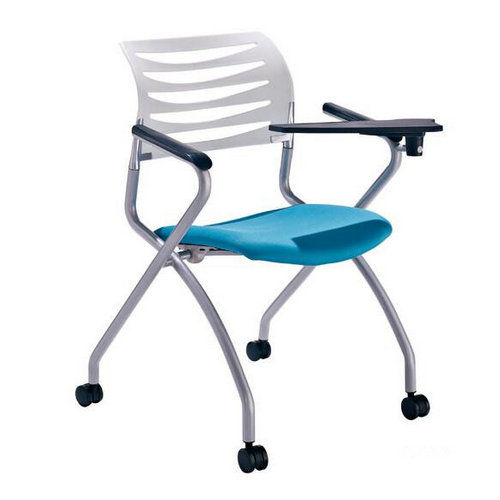 Comfortable folding mesh back training chair with writing pad school student chair