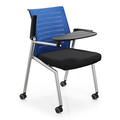 New Conference folding chair with writing table / plastic office chair with metal mesh