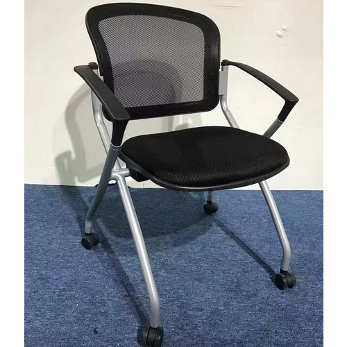 Metal mesh meeting chair reception chair folding conference chair with wheel