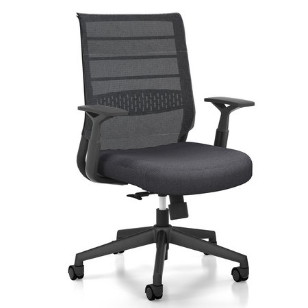 Luxury medium back black mesh staff operating chair swivel task seats for meeting room