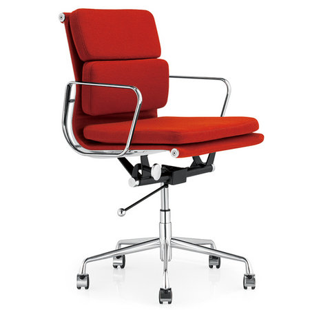 Modern Eames style low back red leather staff office chair conference room seats