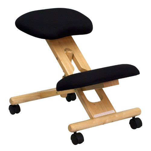 Height adjustable wood kneeling chair ergonomic office chair quality fabric stool with castors