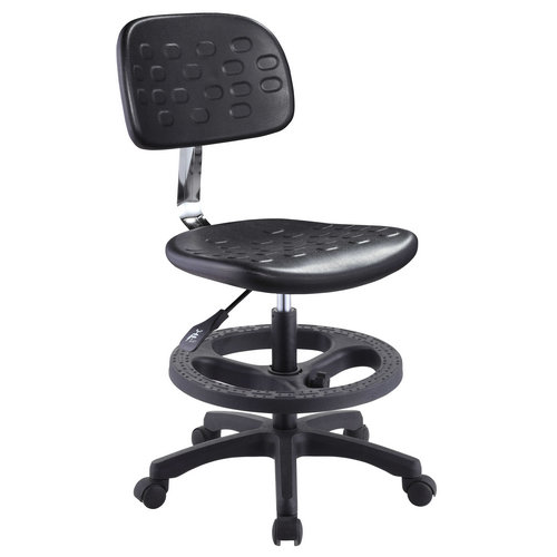 comfortable black cashier seating swivel office staff computer operator chair without armrests