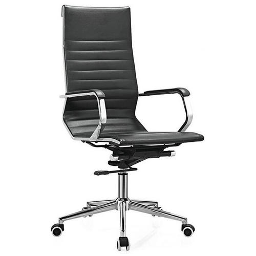 Alibaba Multi-functional Black Leather Manager Office Chair Modern Swivel Computer Seating