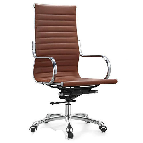 Round tube armrest high back brown PU leather ergonomic computer office chair with wheels