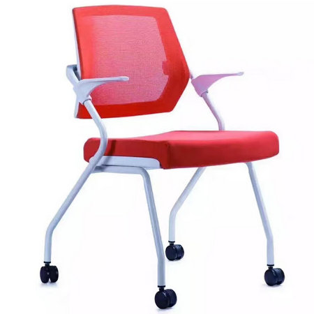 China Factory commercial folding armrest office chair training chair with wheels
