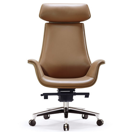 New design high back executive ergonomic black leather PU swivel office chair with metal frame