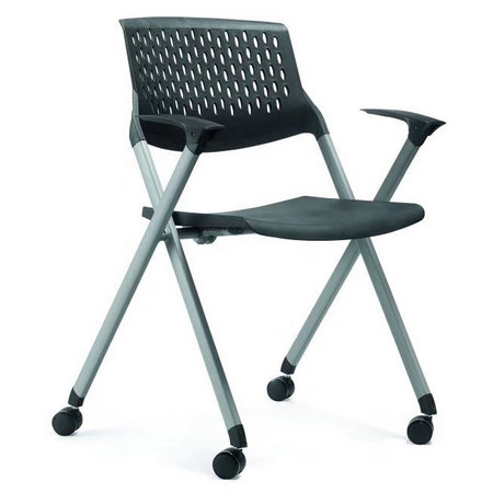China CIFF Meeting Room Chairs With Writing Tablet Folding Training Chairs with Wheels