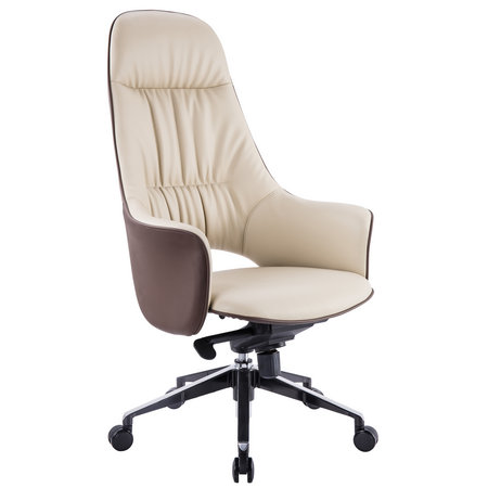 Italian style luxury brown genuine leather manager executive high back soft pad office chair