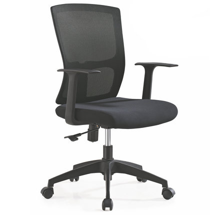 Guangzhou Medium Back Black Simple Swivel Fabric Plastic Office Computer Chair Staff Task Seating